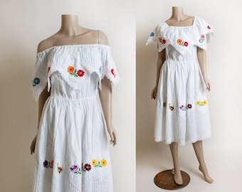 Vintage Off Shoulder Summer Mexican Dress - Colorful Rainbow Embroidered Flowers - Ruffle and Lace - Pintuck Details - Cotton Medium Large
