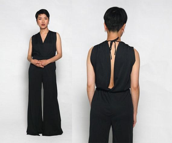 Vintage Disco Jumpsuit - 1970s Black Slinky Wide L