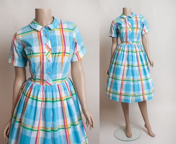 Vintage 1950s Rainbow Plaid Dress - Cotton Shirtwa
