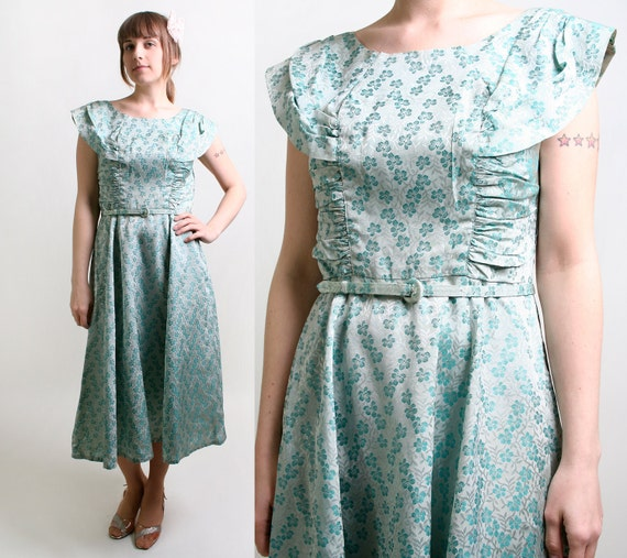 Vintage 1960s Dress - Floral Metallic Brocade Ice