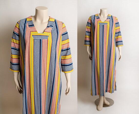 Vintage 1970s Towel Dress - Red Blue Yellow Primar