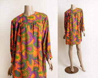 Vintage 1960s Psychedelic Print Babydoll Dress - Vivid Bright Neon Colorful Long Sleeve Tunic Tent by Vicky Vaughn - Medium