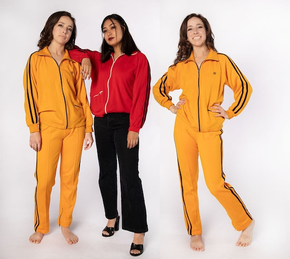 Vintage Tracksuit - Mustard Yellow 1970s Striped A