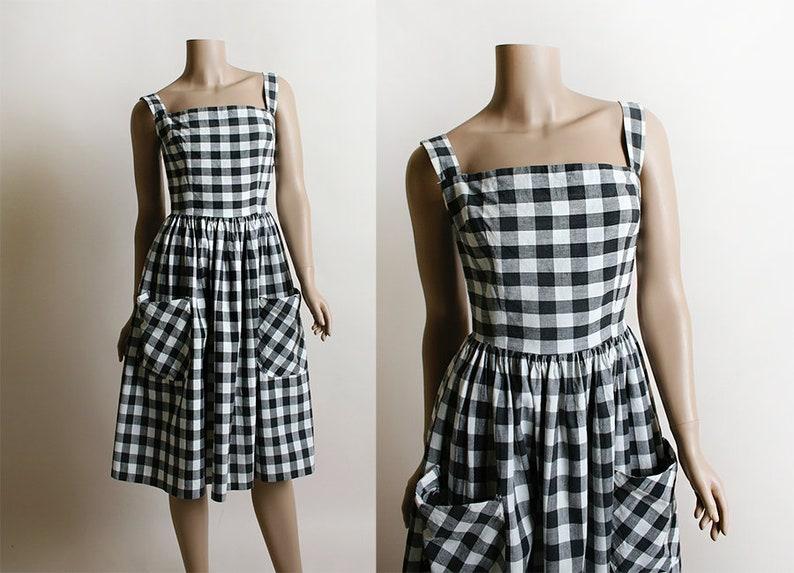 5577954b7a7 Vintage 1950s Dress Black   White Gingham Picnic Plaid