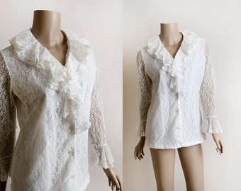 Vintage 1970s Floral Lace Blouse - The Carmen Blouse - White Sheer Sleeves with Bell Cuffs - Ruffle Tuxedo Neckline - Medium Large