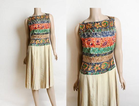 Vintage 1960s Silk Dress - Paisley Autumn Tone Col