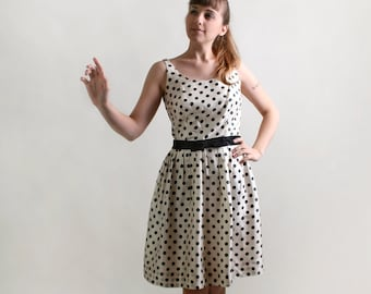 Vintage 1950s Party Dress - Polka Dot in Black and Eggshell White - Medium to Large