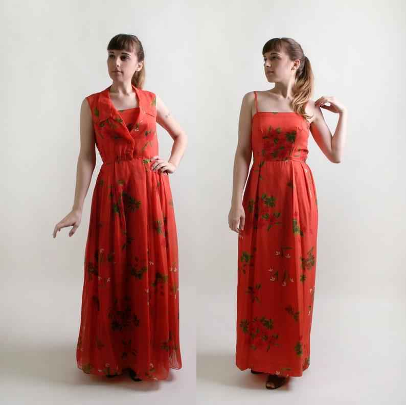 1a593846be786 Vintage Maxi Dress - Two Piece Floral Chiffon Overlay Floor Length Gown -  Orange Silk Chiffon Tiki Fashion - Medium