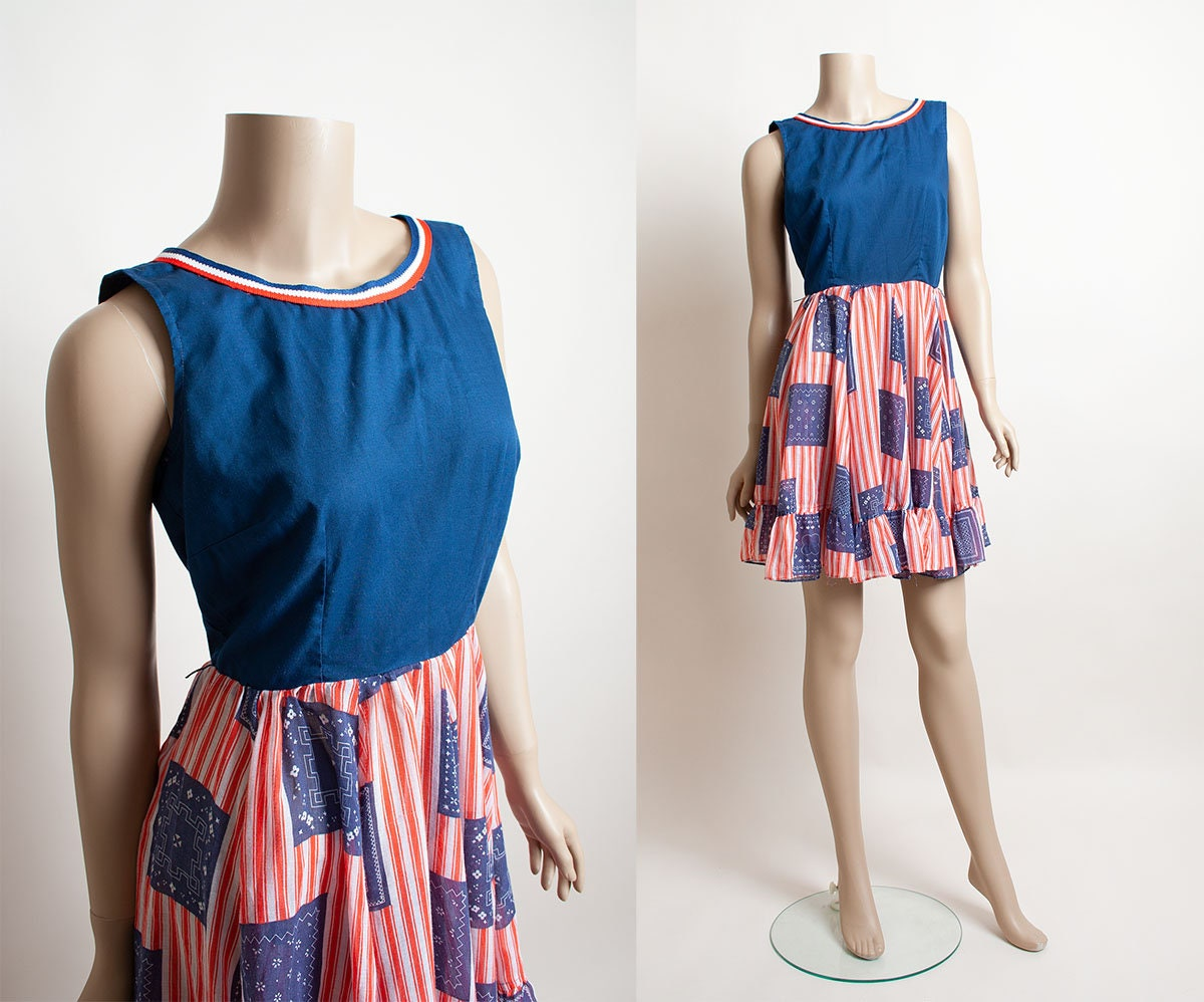 Vintage Scarf Styles -1920s to 1960s Vintage 1970S Dolly Dress - Red White  Blue 4Th Of July Barnyard Square Dance Sheer Ruffle Striped Skirt Cotton Small $77.00 AT vintagedancer.com