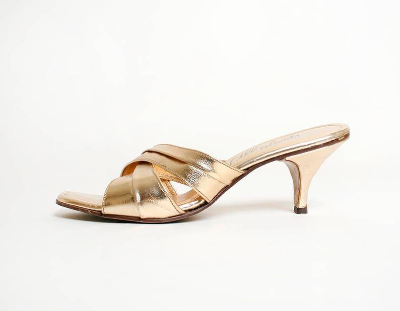22df27ae98e Vintage 1960s Heels Gold Leather Mule Style Slipper Heels