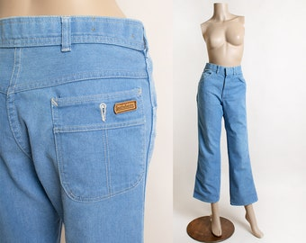 Vintage 1980s Flare Jeans - Light Powder Blue Sport Abouts - Men Women - 32 waist 40 length