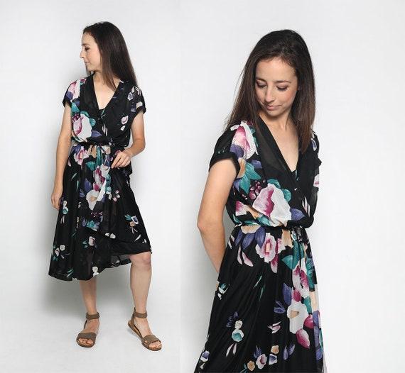 Vintage 1970s Floral Dress - Sheer Dark Floral Bla