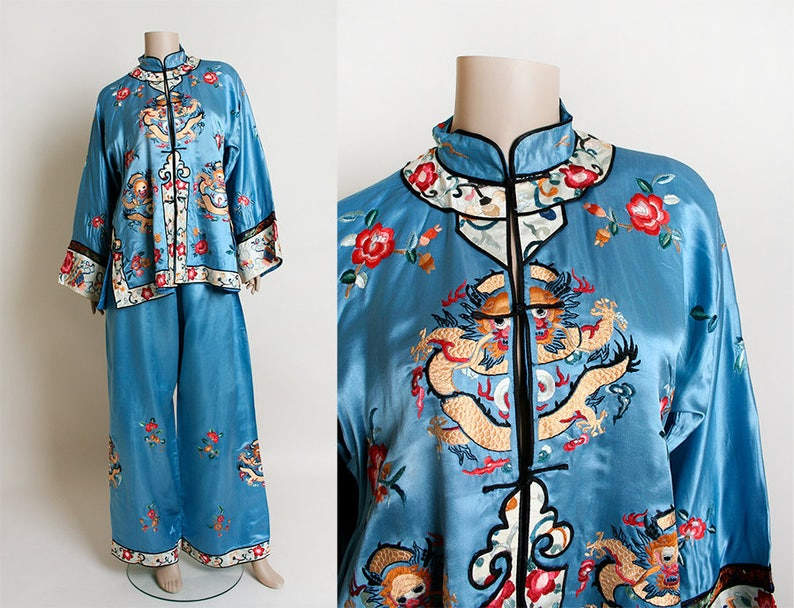 d09163291d Vintage Chinese Pajamas Sky Blue Silk MONKEY Dragon Floral