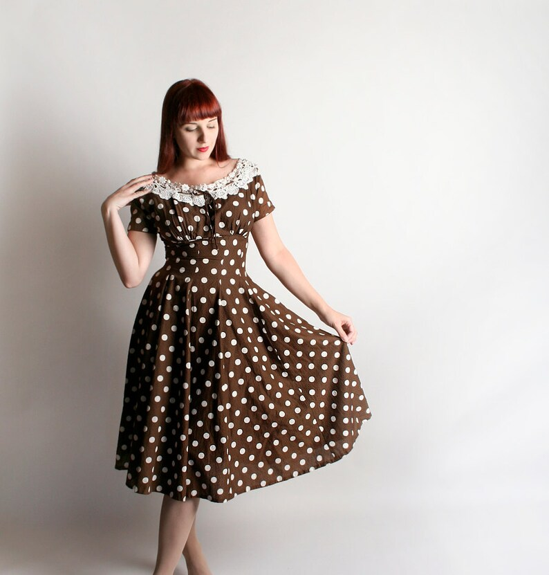 5d9472572cc1 Vintage 1950s Dress Polka Dot Vicky Vaughn Chocolate Brown