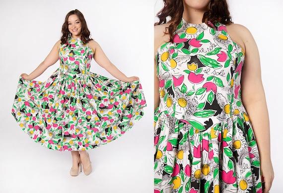Vintage Novelty Print Halter Dress - 1980s Floral