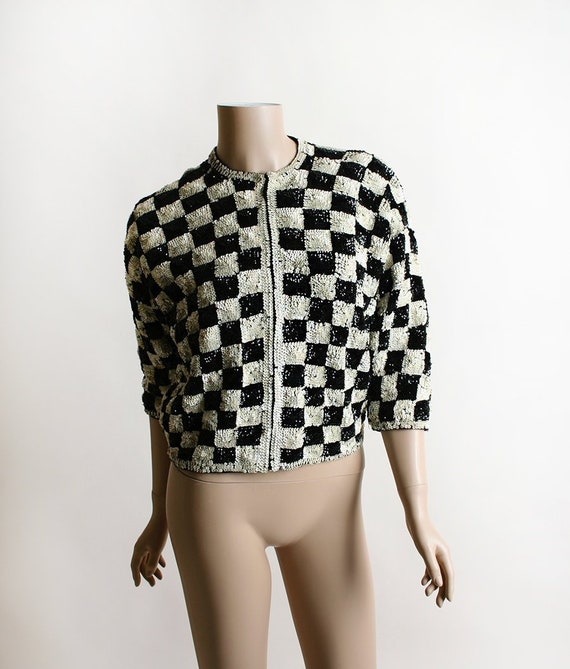 Vintage 1950s Sequin Cardigan Black And White Checkered Etsy