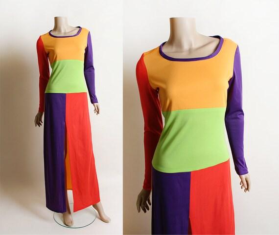 Vintage 1970s Maxi Dress - Ellen Tracy Colorful Co