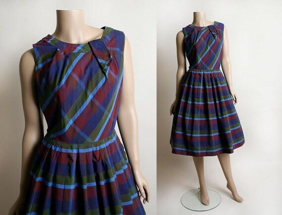 Vintage 1950s Dress - Purple Plaid Cotton Day Dres