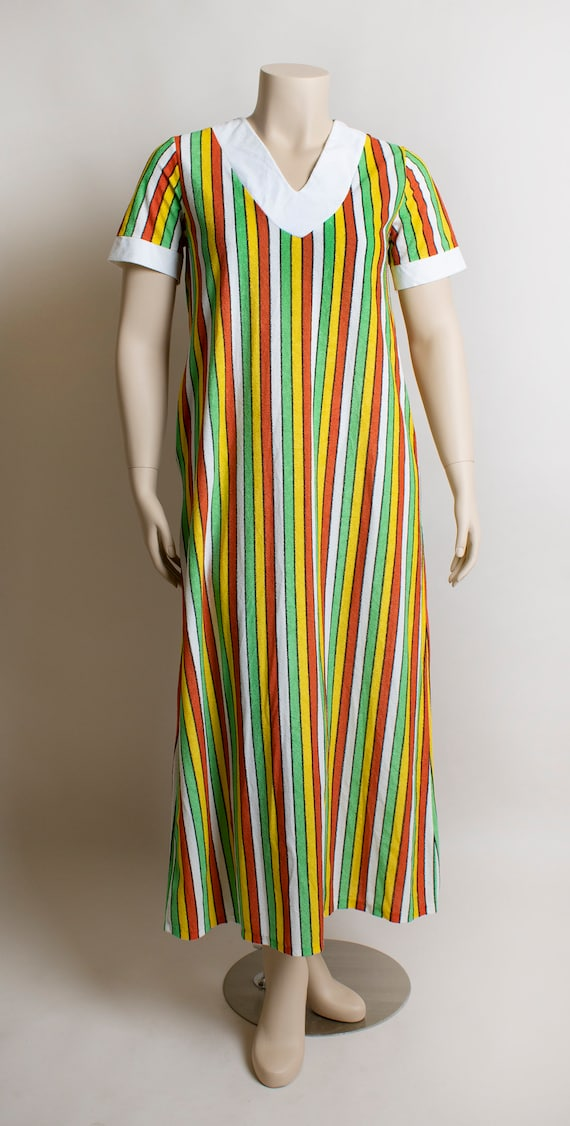 Vintage 1970s Fruit Stripe Towel Dress - Fresh Ci… - image 3