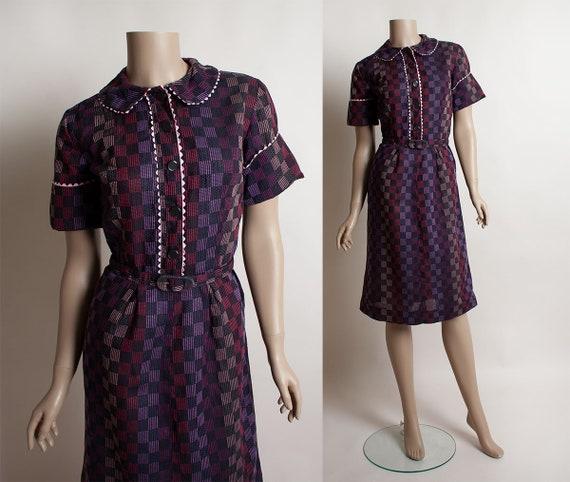 Vintage 1950s Dress - Plum Purple & Pink Gingham C
