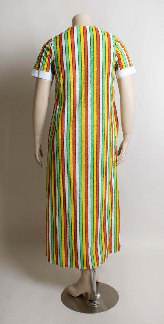 Vintage 1970s Fruit Stripe Towel Dress - Fresh Ci… - image 4