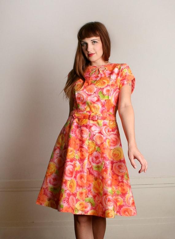 Vintage 1960s Mode O Day Dress - Sherbert Floral P