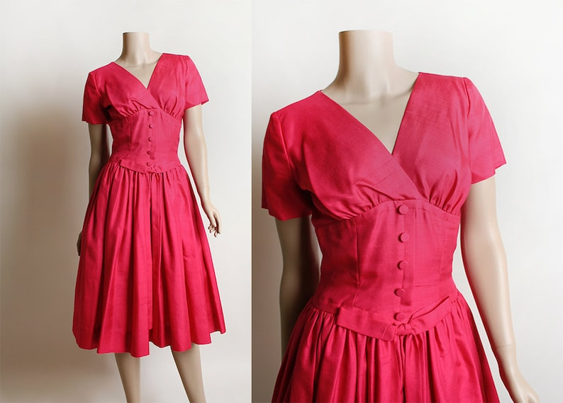 d9567aefe0d Vintage 1950s Dress Magenta Cocktail Party Dress Shantung
