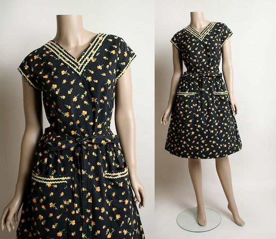Vintage Swirl Wrap Dress - 1950s Black & Yellow Fl