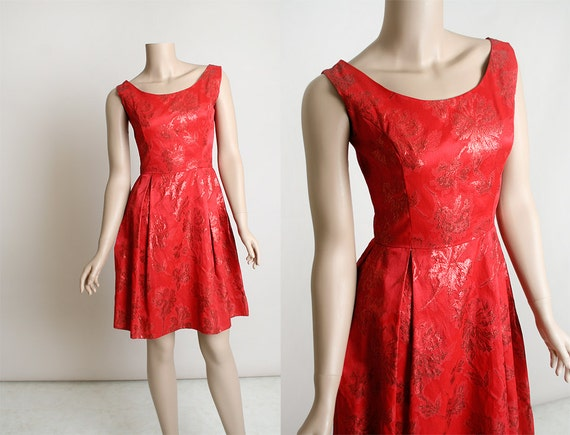 Vintage 1960s Brocade Party Dress - Bright Cherry