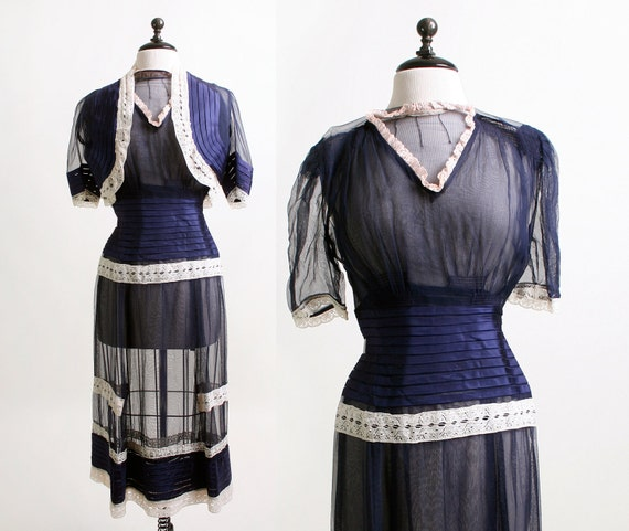 1940s Sheer Dress - Dark Navy Blue and White Lace