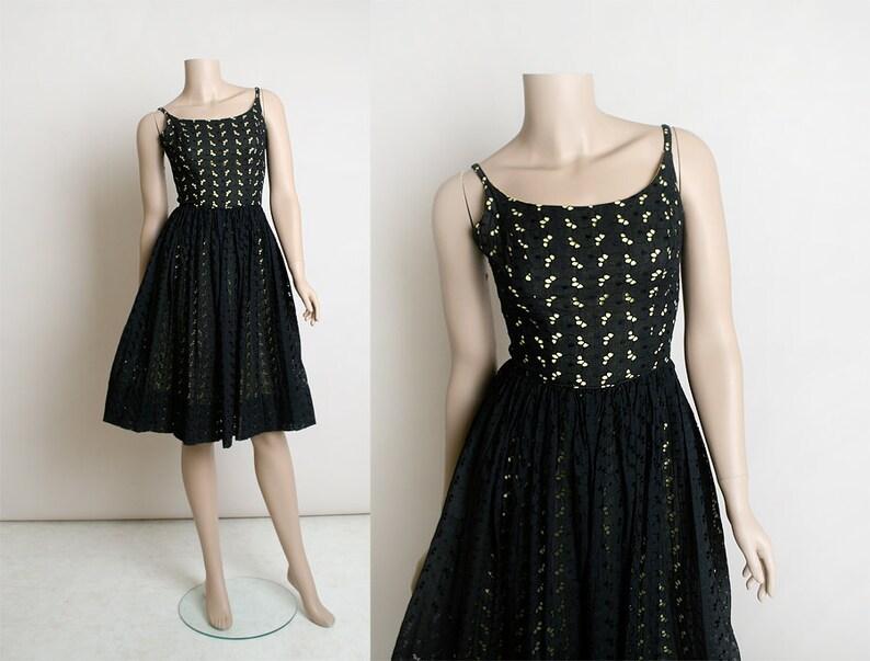 a83f1729e Vintage 1950s Dress Black Eyelet Cotton Day Dress with Lemon