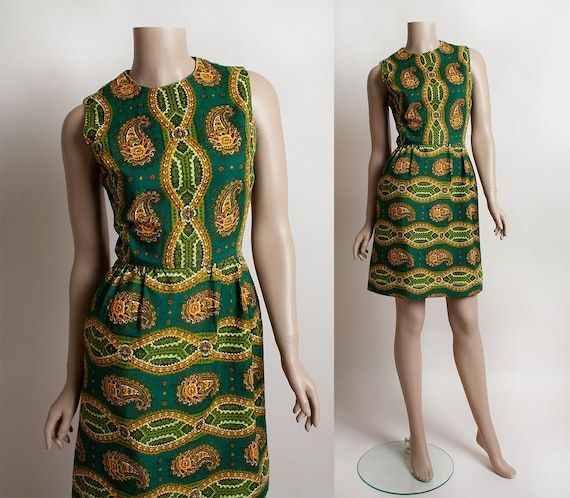 Vintage 1960s Dress - Flower Paisley Print Emerald
