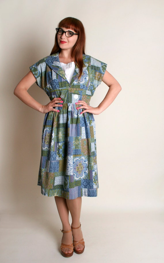 Vintage 1950s Dress - Blue Floral Patchwork Print