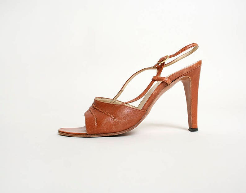 23d707f30513 Vintage 1970s Heels Caramel Twist Rope Leather Sandal Disco