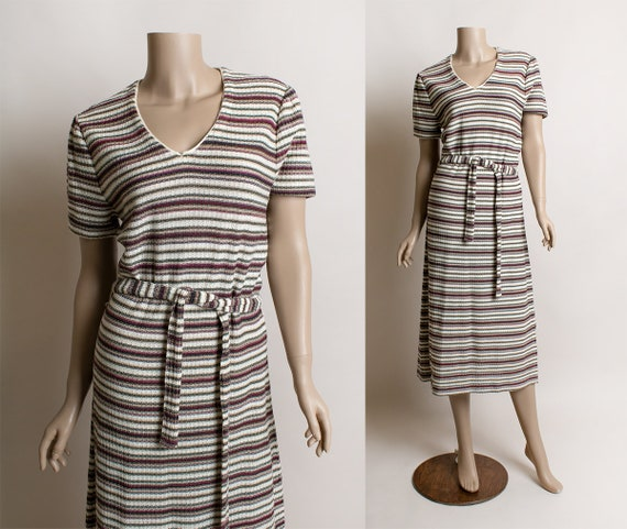 Tan /& Green Vintage 1970s Striped Knit Dress Pink Autumn Tone Colors Sheath Tunic Knitted Dress with Tie Belt Medium Large