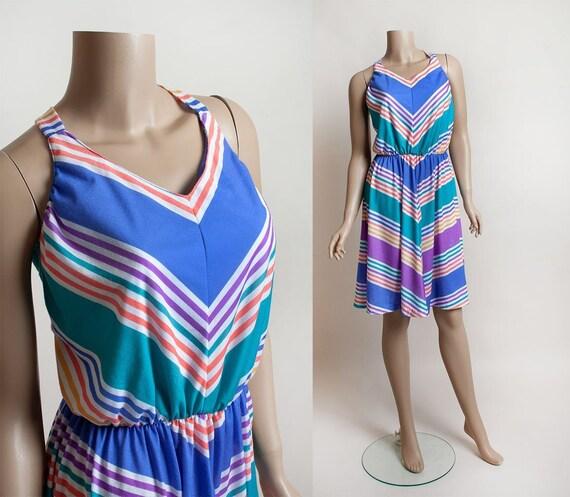 Vintage 1970s Dress - Rainbow Striped Summer Sundr