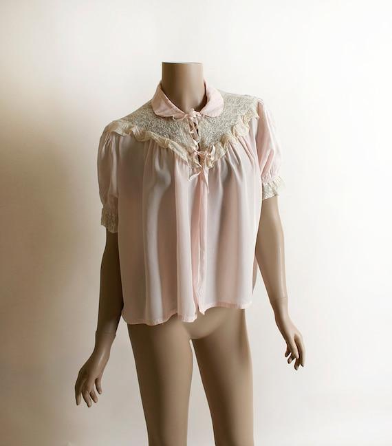 Vintage 1940s Bed Jacket - Pastel Pink Rayon & Whi