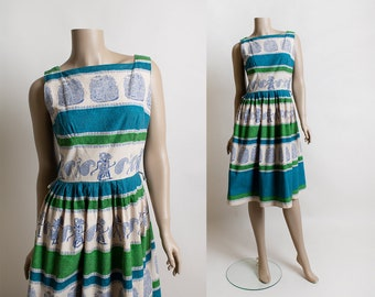 Vintage 1950s Novelty Print Dress - Indonesian Shadow Puppet & Paisley Print Cotton Day Dress - Aqua Blue Lime Green - Small