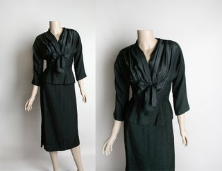 Vintage 1950s Lord & Taylor Two Piece Skirt Suit - Black Pleated Style Bow - Fitted Peplum Top - Small