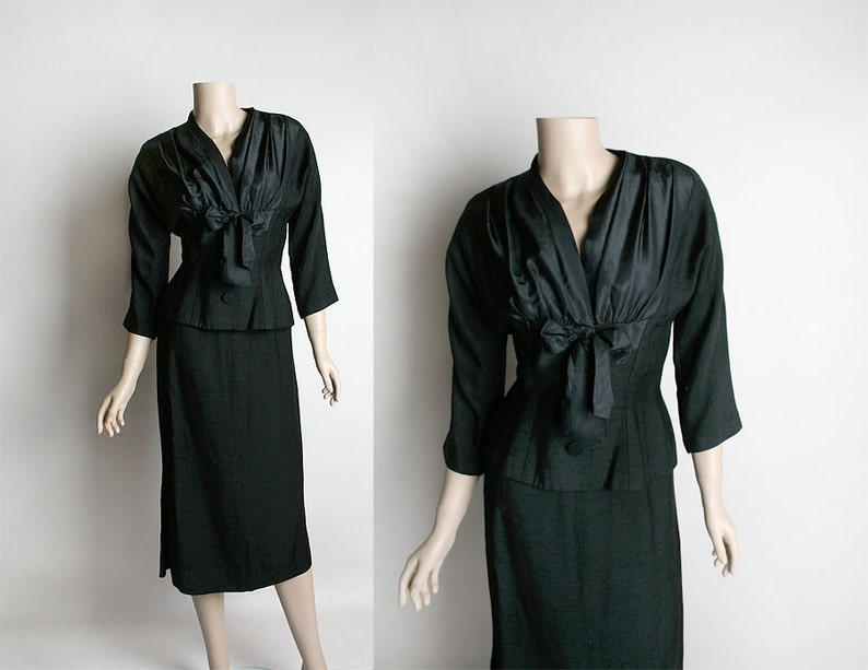 07868992a1 Vintage 1950s Lord   Taylor Two Piece Skirt Suit Black