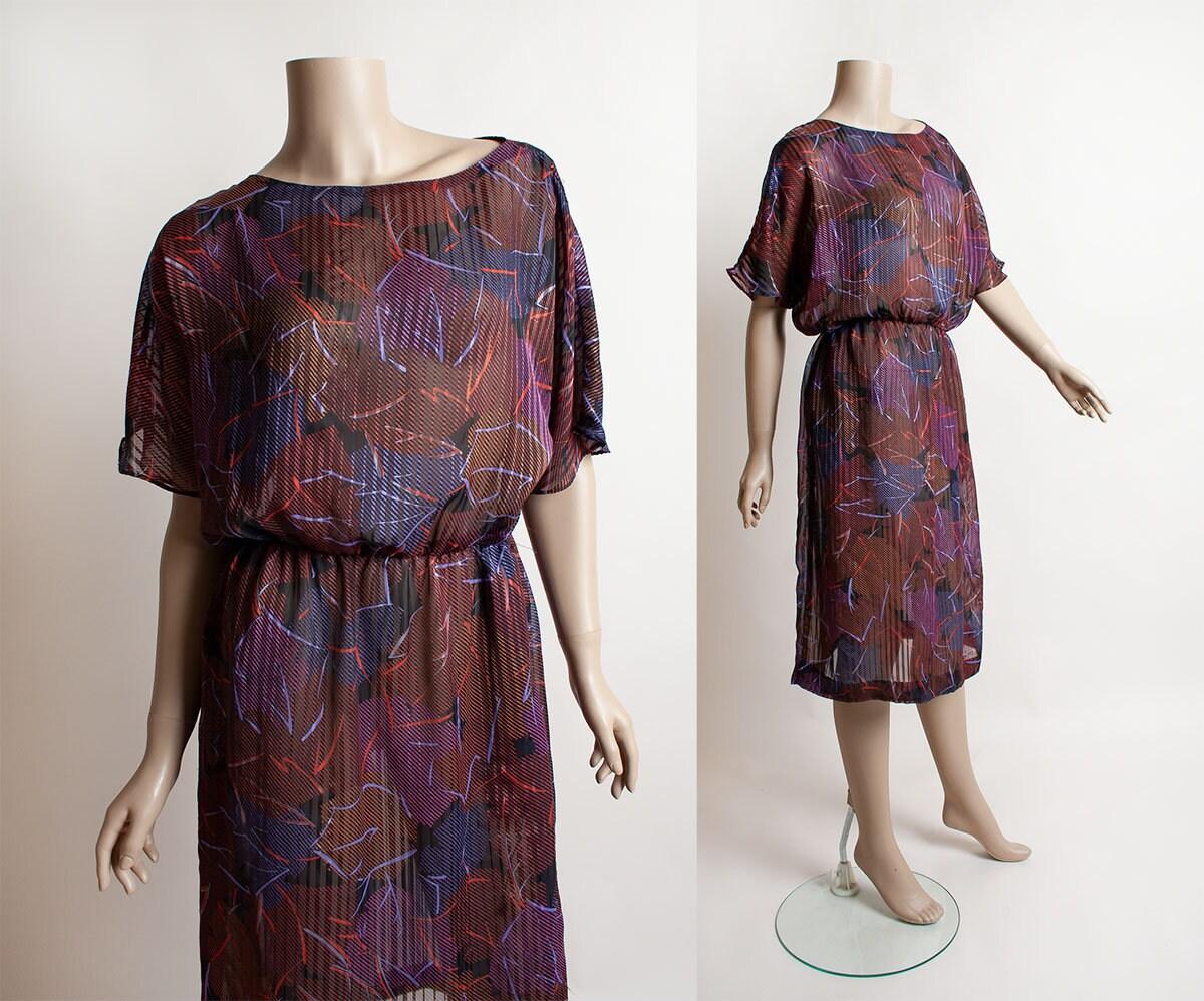 80s Dresses | Casual to Party Dresses Vintage Leaf Print Dress - 1980S Sheer New Wave Ribbon Retro Striped Casual Boho Medium Large $37.00 AT vintagedancer.com