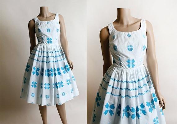 Vintage 1950s Dress - Candy Jones Butterfly Border