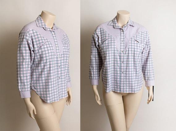 Vintage 1980s Plaid Snap Button Up Shirt - You Bab