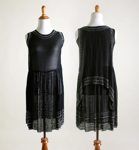 Vintage 1920s Dress - Black Beaded Cocktail Flappe