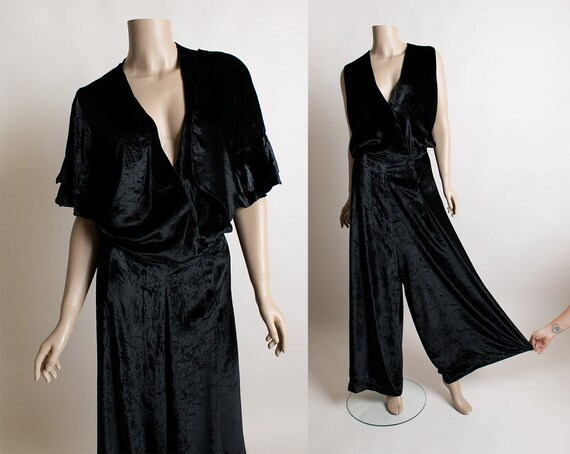 Vintage 1930s Silk Velvet Jumpsuit with Bolero Jac