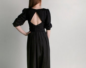 Vintage Lanz Dress - 1980s Black Open Back Diamond Goth Dress - Medium
