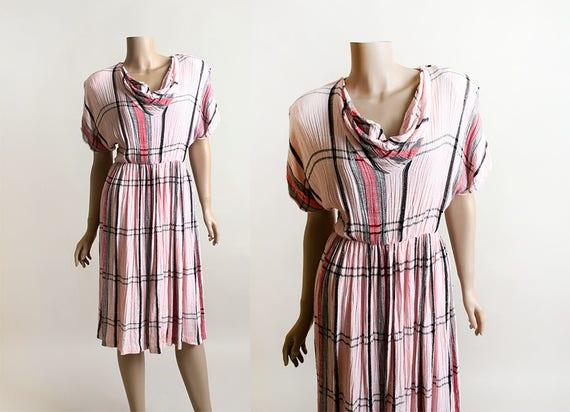 Vintage Pink Plaid Dress - Madras Style Dress - Co