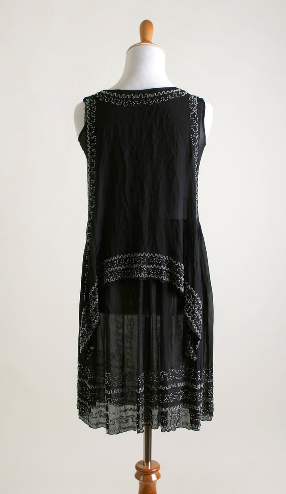 Vintage 1920s Dress - Black Beaded Cocktail Flapp… - image 2
