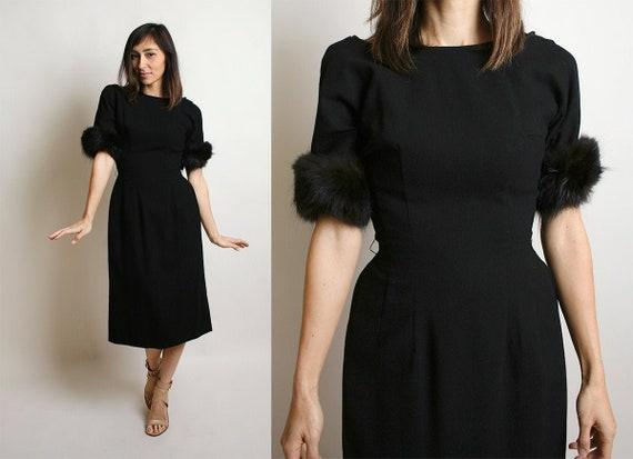 Vintage 1960s Wiggle Dress - Fur Trimmed Cuffs - B