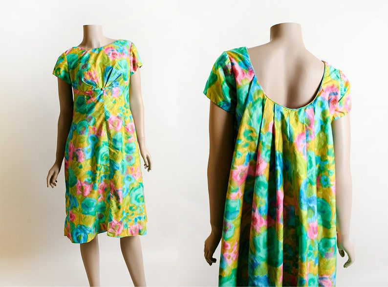 93cef4841618 Vintage Hawaiian Dress Alice 1960s Watercolor Floral Print